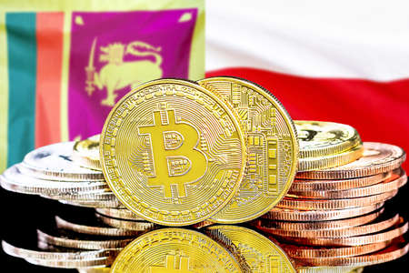 Concept for investors in cryptocurrency and Blockchain technology in the Sri Lanka and Poland. Bitcoins on the background of the flag Sri Lanka and Poland.