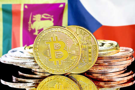 Concept for investors in cryptocurrency and Blockchain technology in the Sri Lanka and Czech Republic. Bitcoins on the background of the flag Sri Lanka and Czech Republic. Foto de archivo