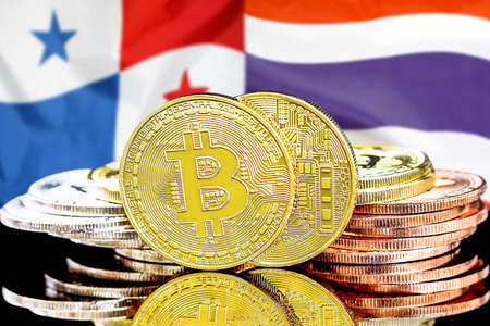 Concept for investors in cryptocurrency and Blockchain technology in the Panama and Thailand. Bitcoins on the background of the flag Panama and Thailand.
