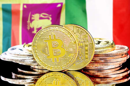 Concept for investors in cryptocurrency and Blockchain technology in the Sri Lanka and Italy. Bitcoins on the background of the flag Sri Lanka and Italy.