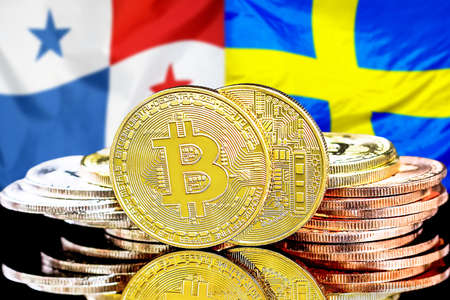 Concept for investors in cryptocurrency and Blockchain technology in the Panama and Sweden. Bitcoins on the background of the flag Panama and Sweden.