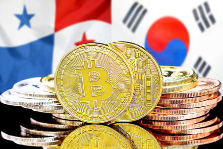 Concept for investors in cryptocurrency and Blockchain technology in the Panama and South Korea. Bitcoins on the background of the flag Panama and South Korea.