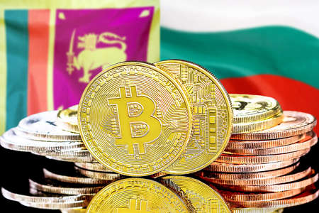 Concept for investors in cryptocurrency and Blockchain technology in the Sri Lanka and Bulgaria. Bitcoins on the background of the flag Sri Lanka and Bulgaria.