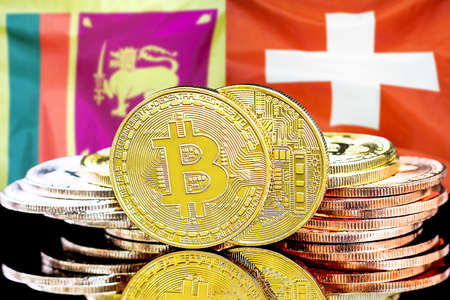 Concept for investors in cryptocurrency and Blockchain technology in the Sri Lanka and Switzerland. Bitcoins on the background of the flag Sri Lanka and Switzerland.