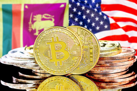 Concept for investors in cryptocurrency and Blockchain technology in the Sri Lanka and United States of America. Bitcoins on the background of the flag Sri Lanka and US.