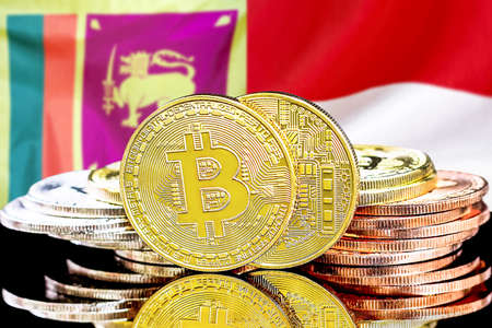 Concept for investors in cryptocurrency and Blockchain technology in the Sri Lanka and Monaco. Bitcoins on the background of the flag Sri Lanka and Monaco.