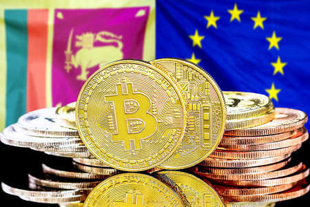 Concept for investors in cryptocurrency and Blockchain technology in the Sri Lanka and European Union. Bitcoins on the background of the flag Sri Lanka and European Union.