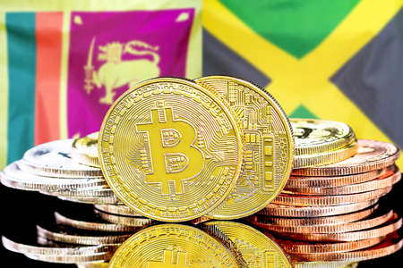 Concept for investors in cryptocurrency and Blockchain technology in the Sri Lanka and Jamaica. Bitcoins on the background of the flag Sri Lanka and Jamaica.