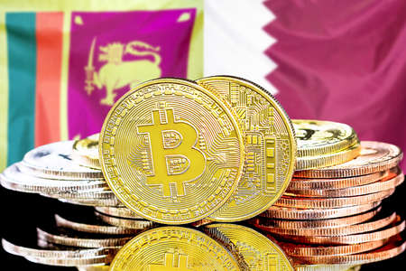 Concept for investors in cryptocurrency and Blockchain technology in the Sri Lanka and Qatar. Bitcoins on the background of the flag Sri Lanka and Qatar.