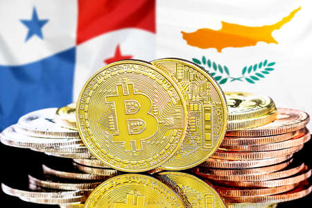 Concept for investors in cryptocurrency and Blockchain technology in the Panama and Cyprus. Bitcoins on the background of the flag Panama and Cyprus. Foto de archivo