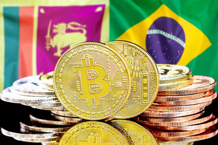 Concept for investors in cryptocurrency and Blockchain technology in the Sri Lanka and Brazil. Bitcoins on the background of the flag Sri Lanka and Brazil.