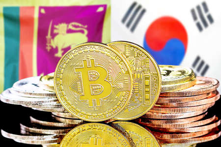 Concept for investors in cryptocurrency and Blockchain technology in the Sri Lanka and South Korea. Bitcoins on the background of the flag Sri Lanka and South Korea.