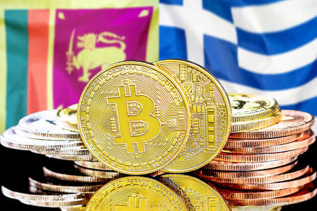 Concept for investors in cryptocurrency and Blockchain technology in the Sri Lanka and Greece. Bitcoins on the background of the flag Sri Lanka and Greece.