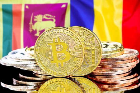 Concept for investors in cryptocurrency and Blockchain technology in the Sri Lanka and Moldova. Bitcoins on the background of the flag Sri Lanka and Moldova.