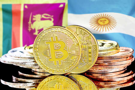 Concept for investors in cryptocurrency and Blockchain technology in the Sri Lanka and Argentina. Bitcoins on the background of the flag Sri Lanka and Argentina.