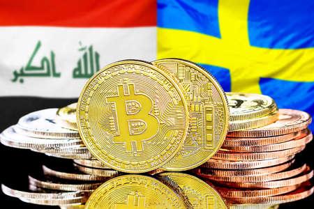 Concept for investors in cryptocurrency and Blockchain technology in the Iraq and Sweden. Bitcoins on the background of the flag Iraq and Sweden.