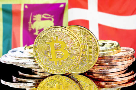 Concept for investors in cryptocurrency and Blockchain technology in the Sri Lanka and Denmark. Bitcoins on the background of the flag Sri Lanka and Denmark.
