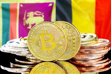 Concept for investors in cryptocurrency and Blockchain technology in the Sri Lanka and Belgium. Bitcoins on the background of the flag Sri Lanka and Belgium.