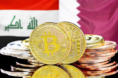 Concept for investors in cryptocurrency and Blockchain technology in the Iraq and Qatar. Bitcoins on the background of the flag Iraq and Qatar.