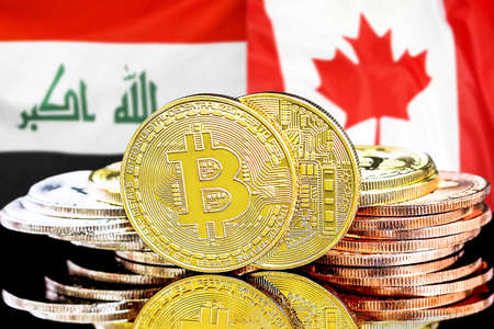 Concept for investors in cryptocurrency and Blockchain technology in the Iraq and Canada. Bitcoins on the background of the flag Iraq and Canada. Foto de archivo