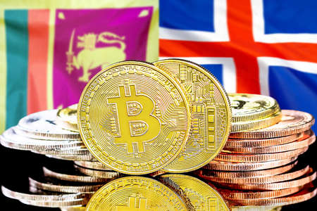 Concept for investors in cryptocurrency and Blockchain technology in the Sri Lanka and Iceland. Bitcoins on the background of the flag Sri Lanka and Iceland.