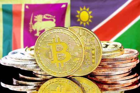 Concept for investors in cryptocurrency and Blockchain technology in the Sri Lanka and Namibia. Bitcoins on the background of the flag Sri Lanka and Namibia.