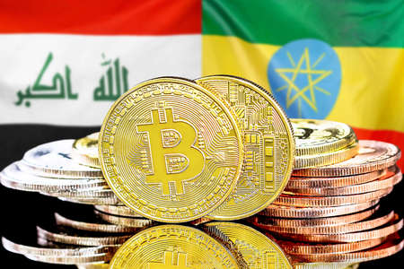 Concept for investors in cryptocurrency and Blockchain technology in the Iraq and Ethiopia. Bitcoins on the background of the flag Iraq and Ethiopia. Foto de archivo