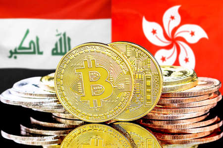 Concept for investors in cryptocurrency and Blockchain technology in the Iraq and Hong Kong. Bitcoins on the background of the flag Iraq and Hong Kong. Foto de archivo