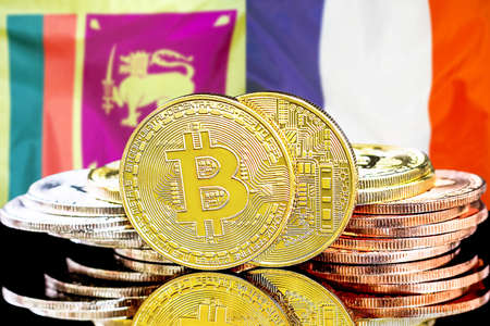 Concept for investors in cryptocurrency and Blockchain technology in the Sri Lanka and France. Bitcoins on the background of the flag Sri Lanka and France.