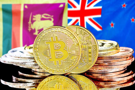 Concept for investors in cryptocurrency and Blockchain technology in the Sri Lanka and New Zealand. Bitcoins on the background of the flag Sri Lanka and New Zealand.