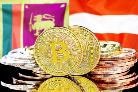Concept for investors in cryptocurrency and Blockchain technology in the Sri Lanka and Austria. Bitcoins on the background of the flag Sri Lanka and Austria. Foto de archivo