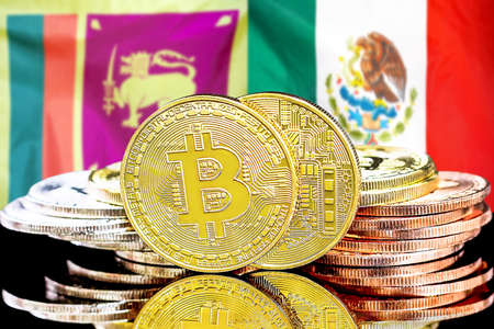 Concept for investors in cryptocurrency and Blockchain technology in the Sri Lanka and Mexico. Bitcoins on the background of the flag Sri Lanka and Mexico.