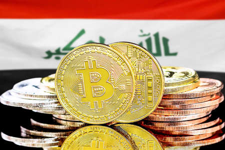 Concept for investors in cryptocurrency and Blockchain technology in the Iraq. Bitcoins on the background of the flag Iraq. Foto de archivo