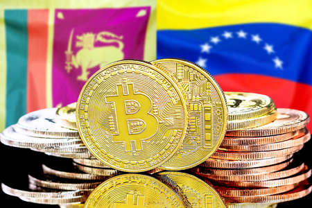 Concept for investors in cryptocurrency and Blockchain technology in the Sri Lanka and Venezuela. Bitcoins on the background of the flag Sri Lanka and Venezuela. Foto de archivo