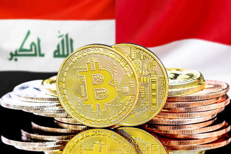 Concept for investors in cryptocurrency and Blockchain technology in the Iraq and Monaco. Bitcoins on the background of the flag Iraq and Monaco.