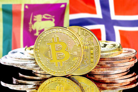Concept for investors in cryptocurrency and Blockchain technology in the Sri Lanka and Norway. Bitcoins on the background of the flag Sri Lanka and Norway.