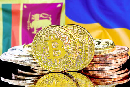 Concept for investors in cryptocurrency and Blockchain technology in the Sri Lanka and Ukraine. Bitcoins on the background of the flag Sri Lanka and Ukraine. Foto de archivo