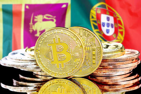 Concept for investors in cryptocurrency and Blockchain technology in the Sri Lanka and Portugal. Bitcoins on the background of the flag Sri Lanka and Portugal.