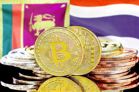 Concept for investors in cryptocurrency and Blockchain technology in the Sri Lanka and Thailand. Bitcoins on the background of the flag Sri Lanka and Thailand.
