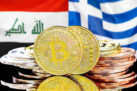 Concept for investors in cryptocurrency and Blockchain technology in the Iraq and Greece. Bitcoins on the background of the flag Iraq and Greece.