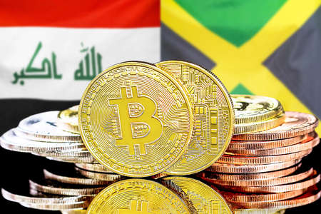 Concept for investors in cryptocurrency and Blockchain technology in the Iraq and Jamaica. Bitcoins on the background of the flag Iraq and Jamaica.