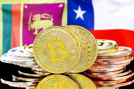 Concept for investors in cryptocurrency and Blockchain technology in the Sri Lanka and Chile. Bitcoins on the background of the flag Sri Lanka and Chile.