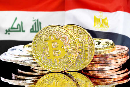 Concept for investors in cryptocurrency and Blockchain technology in the Iraq and Egypt. Bitcoins on the background of the flag Iraq and Egypt. Foto de archivo