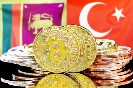 Concept for investors in cryptocurrency and Blockchain technology in the Sri Lanka and Turkey. Bitcoins on the background of the flag Sri Lanka and Turkey.