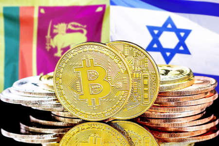 Concept for investors in cryptocurrency and Blockchain technology in the Sri Lanka and Israel. Bitcoins on the background of the flag Sri Lanka and Israel.