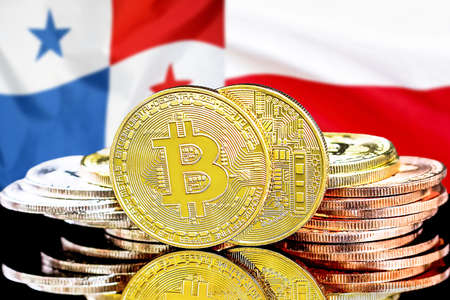 Concept for investors in cryptocurrency and Blockchain technology in the Panama and Poland. Bitcoins on the background of the flag Panama and Poland.