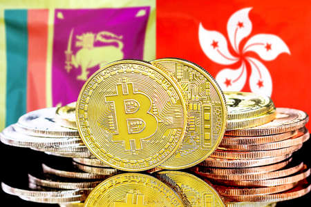 Concept for investors in cryptocurrency and Blockchain technology in the Sri Lanka and Hong Kong. Bitcoins on the background of the flag Sri Lanka and Hong Kong.
