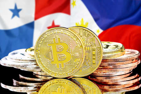 Concept for investors in cryptocurrency and Blockchain technology in the Panama and Philippines. Bitcoins on the background of the flag Panama and Philippines.
