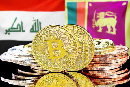 Concept for investors in cryptocurrency and Blockchain technology in the Iraq and Sri Lanka. Bitcoins on the background of the flag Iraq and Sri Lanka.
