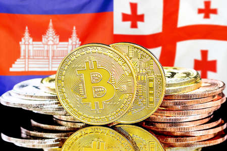 Concept for investors in cryptocurrency and Blockchain technology in the Cambodia and Georgia. Bitcoins on the background of the flag Cambodia and Georgia.